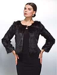 Long Sleeve Collarless Collar Evening/ Career Faux Fur Coat  (More Colors)
