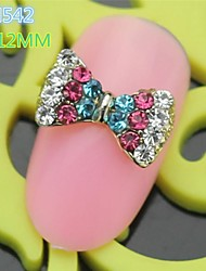 10PCS RH542 Fashion design Colorful Rhinestone Luxury Bow Tie nail art Nail Salon tool DIY Butterfly Nail Decoration