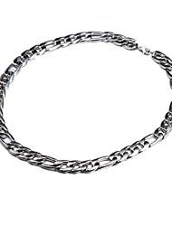 55 centímetros-62 centímetros, 10 mm, cadeia Figaro luxuoso grossa super colar de corrente grossa de prata banhado a dos homens