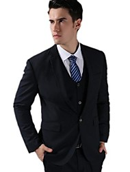 Men Groom Slim Dresses Suits Korean One Button Navy Blue Fashion Leisure Suits (Jacket+Vest+Pants)