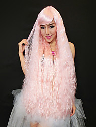 Charming Princess Long Curly Hair Pink 100cm Women's Halloween Party Wig