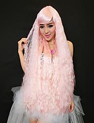 princesa encantadora fiesta de halloween peluca de pelo largo y rizado de color rosa 100cm de las mujeres
