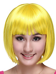 Sweet Girl Bob Cut Yellow Synthetic Fiber Women's Halloween Party Wig