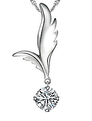 Diamond Heart Rhinestone Wing Silver Necklace