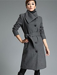 longtemps accepter taille épaississement revers en cachemire manteau femmes