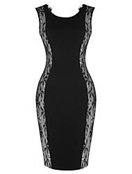 sem mangas rendas BODYCON vestidos finos vicone das mulheres