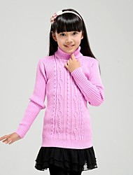 Girl's Fashionable High Grade Pure Color High Collar Knitting Sweater