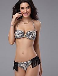 DiYan® Women's Sexy Gray Tassels Print V Shape Bikini Swimwear