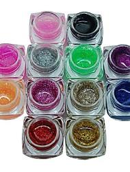 12PCS Mixs Pure Color Glitter Powder UV Color Gel for Manicure Nail Tips(8ml)