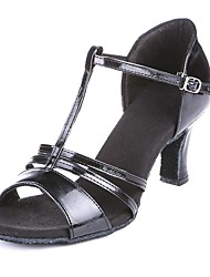Non Customizable Women's Dance Shoes Latin Leatherette Chunky Heel Black
