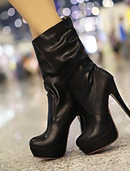 Women's Shoes Round Toe Stilletto Heel Mid Calf Boots More Colors Available