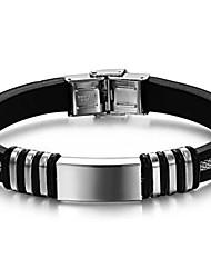 z&silicone argent en acier de titane de la personnalité de la mode des bracelets de surface lisse de l'homme x®