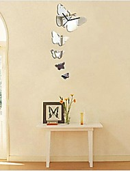 3d bricolage style moderne nouveau miroir de papillons horloge murale