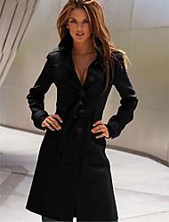lapela tweed pescoço sobretudo das mulheres Yiluo
