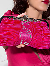 Women Silk / Metal Event/Party Evening Bag Beige / Purple / Blue / Red / Black / Fuchsia