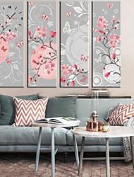 des fleurs et des papillons horloge dans 4pcs toile