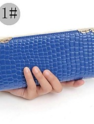 Women's Fashion Long Stone Grain Bright Skin Angle Iron PU Wallet