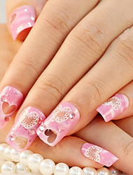 24PCS Cherry Blossom Pink Heart-Shaped Rhinestone Nail Art Tips With Nail Glue&Nail File