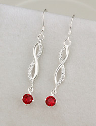 R&D  Mounted Stone Silver-Plated Earrings