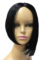 Capless Top Grade Synthetic Medium Length Black Color Straight  Wig