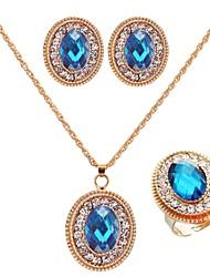 Women's Gold/Cubic Zirconia Jewelry Set Sapphire