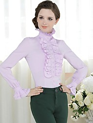 Women's Solid White/Black/Yellow/Purple Blouse , Stand Long Sleeve Ruffle/Ruched