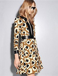Women's High Quality Brand V-Neck Print silk ¾ Sleeve Fashion Dress