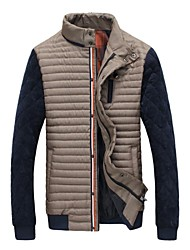 Men's Stand Neck Stitching British Style Warm Cotton-padded Jacket