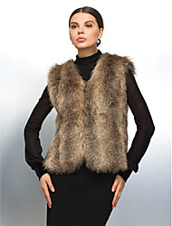 Fur Vest With Collarless In Faux Fur Casual/Party Vest