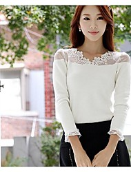broto de seda e veludo t-shirt de manga longa das mulheres