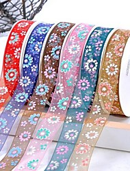 3/8 Inch Colorful Chrysanthemum Snow Yarn Ribbon Printing Ribbon- 25 Yards Per Roll (More Colors)
