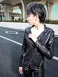 coreano versão pu fino casaco fino das mulheres