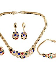 Flower-Shaped Alloy Inlay Rhinestone Sets Necklace+Bracelet+Earrings+Ring Gold (1Set)