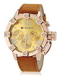 JUBAOLI® Men's Fashion Gold Case Khaki Leather Band Quartz Wrist Watch (Assorted Colors) Cool Watch Unique Watch