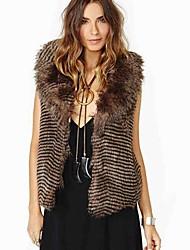 elegante rayas de imitación de piel de cuello de solapa sleevless cabida de las mujeres del chaleco largo