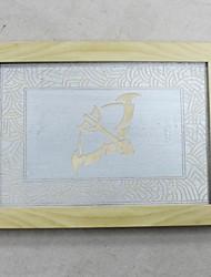escultura manual de madeira do zodíaco Sagitário enquadrado pronto para pendurar