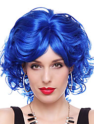reina elegante de fibra sintética azul real fiesta de halloween peluca los 28cm de las mujeres