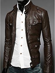 Charels Men's Korean Simple Slim Coat Leather Clothing