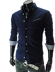 URUN Men's Korean Style Slim Fit Long Sleeve Shirt