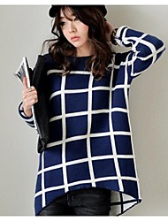 Women's In The Long And Generous Grid Loose Sweaters