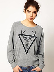 Women's Printing Round Neck Sweatshirt Jumper Top Pullover
