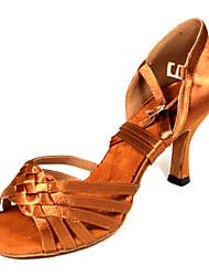 Non Customizable Women's Dance Shoes Latin Satin Flared Heel Brown