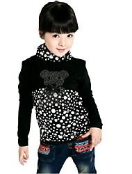 Girl's Fashion Leisure Leopard Print Dot Long Sleeve T Shirt