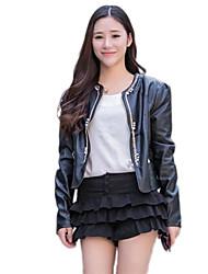 moda bodycon giacca di pelle corta delle donne