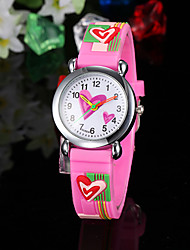 Enfant Montre Tendance Quartz Silikon Bande Heart Shape Rose Rose