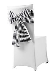 Wedding Décor Delicate Black And White Strip Bowknot Chair Sashes