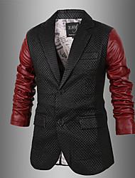 Charels Men's Korean Contrast Color Simple Causal Slim Coat Leather Clothing