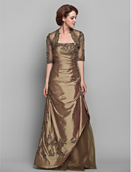 A-line Plus Sizes Mother of the Bride Dress - Brown Floor-length Half Sleeve Taffeta/Lace
