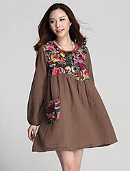 TS Vintage Embroidery Contrast Color Loose Single Pocket Women Dress(Random Prints)