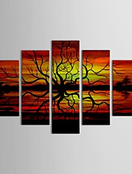IARTS®Hand Painted Oil Painting Landscape  Sunset African Scenery with Stretched Frame Set of 5